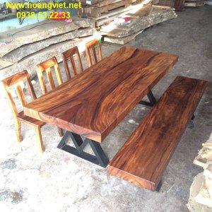 Bàn gỗ me tây 90x10x220cm