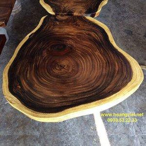 Bàn tròn cafe bằng gỗ me tây đk 55-60cm dày 5cm