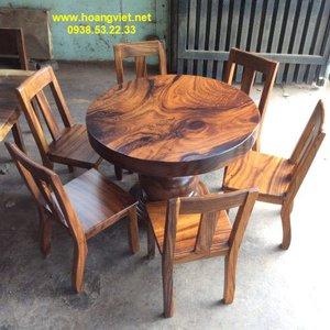 Giá bàn tròn gỗ me tây đường kính 1m dày 10cm