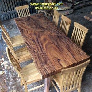 Bàn ăn 8 ghế gỗ me tây 80x7x214cm