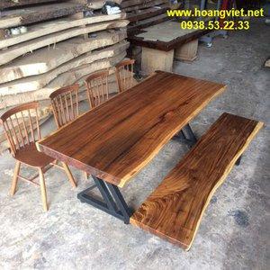 Bàn ăn ghế băng dài, mặt bàn 88x7x218cm