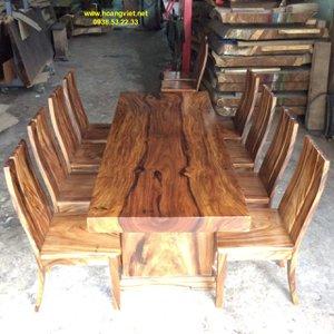 Bàn ăn gỗ nguyên khối 86x10x230cm