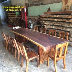 Bàn ăn nguyên khối gỗ me tây (87-94)x10x304cm