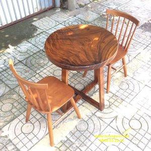 Bàn ăn nhỏ 2 ghế đường kính 70cm dày 5cm