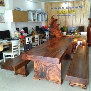 Bàn ghế 3 tấm gỗ me tây 80x10x185cm