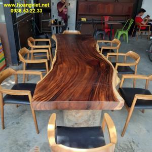 Bàn ghế ăn gỗ me tây (80-90)x10x270cm