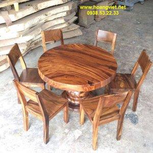 Bàn ghế gỗ còng đường kính 115cm dày 9.5cm