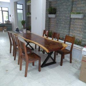 Bàn ghế gỗ me tây (80-90)x7x240cm