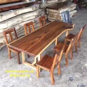 Bàn ghế gỗ me tây (77-83)x5x218cm