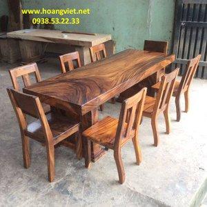 Bàn ghế gỗ nguyên khối 77x9.5x211cm