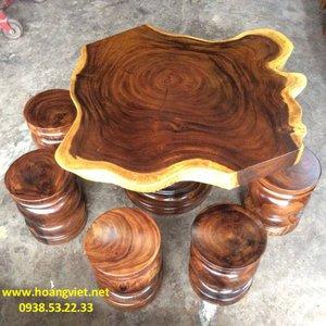 Bàn trà gỗ me tây đường kính 100-130cm dày 11cm