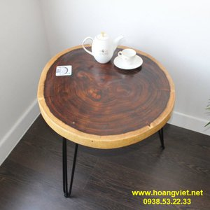 Bàn trà gỗ tròn đường kính 60cm dày 5cm