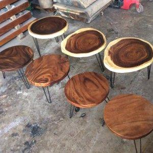 Bàn tròn cafe gỗ me tây đk 60-65cm dày 5cm
