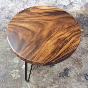 Bàn tròn chân sắt mặt gỗ me tây đk 60cm dày 5cm