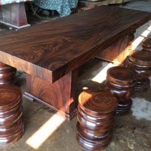 Bộ bàn ăn gỗ nguyên khối 80x12x250cm