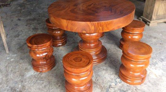 Bộ bàn tròn 6 đôn gỗ me tây