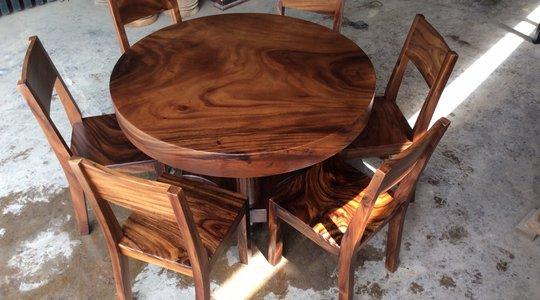 Bàn tròn gỗ me tây 6 ghế