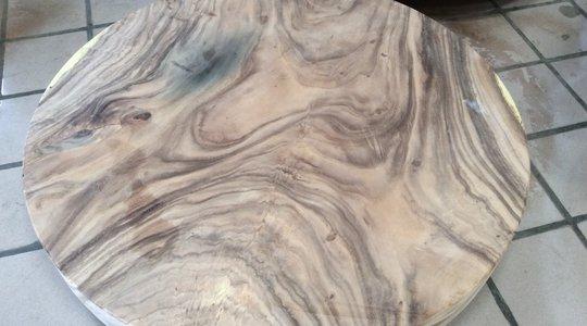 Hình mộc mặt bàn tròn gỗ me tây