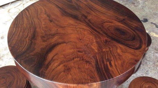 Mặt bàn gỗ me tây sơn pu màu tự nhiên