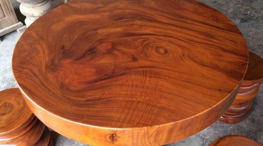 Mặt bàn tròn gỗ me tây