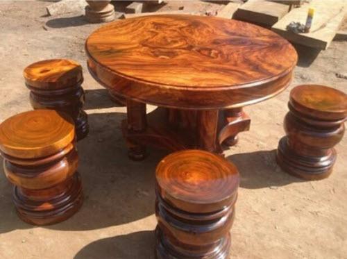 Bàn tròn gỗ hương