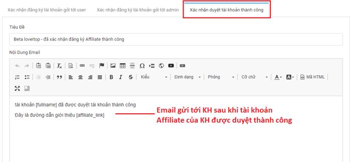 Cấu hình Email mặc định gửi khách hàng đăng ký Affiliate thành công