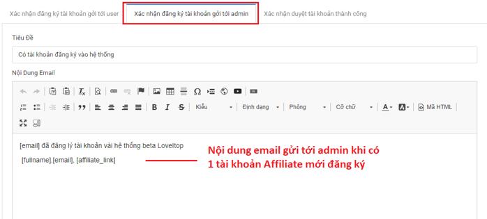 Cấu hình Email mặc định gửi khách hàng đăng ký Affiliate