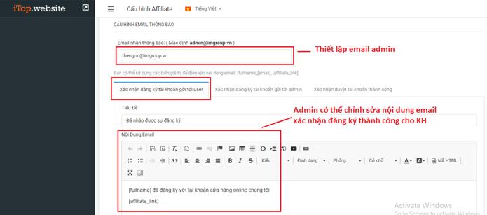 Cấu hình email thông báo