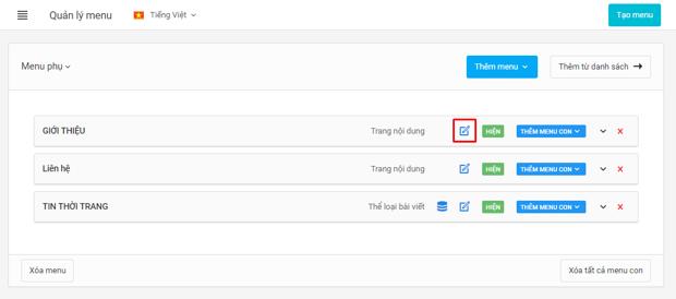 Click icon sửa nhanh nội dung menu