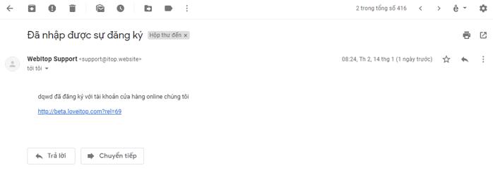 Email mặc định gửi khách hàng đăng ký Affiliate