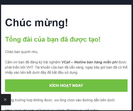 Email thông báo đăng ký Vcall thành công