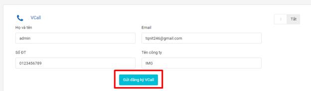 Gửi đăng ký Vcall