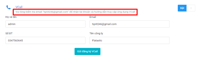 Kiểm tra email khi dăng ký Vcall