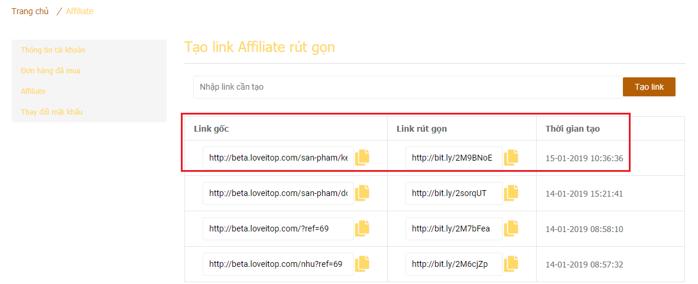 Kết quả tạo link Affiliate sản phẩm riêng